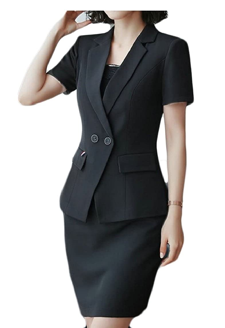 maweisong Women' 2-Piece Short Sleeve Office Lady Blazer and Skirt Suit Set