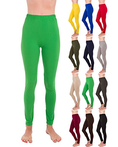 Homma Premium Ultra Soft High Rise Waist Full Length Regular and Plus Size Variety Pack Leggings (XL/2XL, Green)