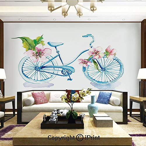 Lionpapa_mural Removable Wall Mural Ideal to Decorate Bedroom,or Office,Grungy Inspired Watercolors Textured Bicycle with Orchids Romantic Vehicle Figure,Home Decor - 100x144 inches