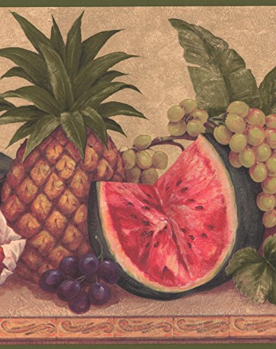 Pineapple Tangerine Pack - Exotic Pineapple Watermelon Grapes Tangerine Flowers Brown Wide Wallpaper Border Retro Design, Roll 15' x 10.25''