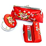 Yisige (3 PCS SET) Embroidery Lipstick Case Cosmetic Bag Makeup Mirror with satin Silky Fabric Case