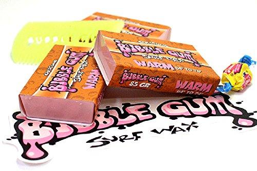 Bubble Gum Surf Wax Warm Surfboard Wax (3 Pack, Warm 64˚ - (Famous Wax)