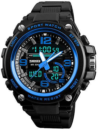 Mens Military Analog Digital Wrist Watches Multi Function 3 Time Countdown Alarm Stopwatch Backlight 50M Waterproof Watch  Blue