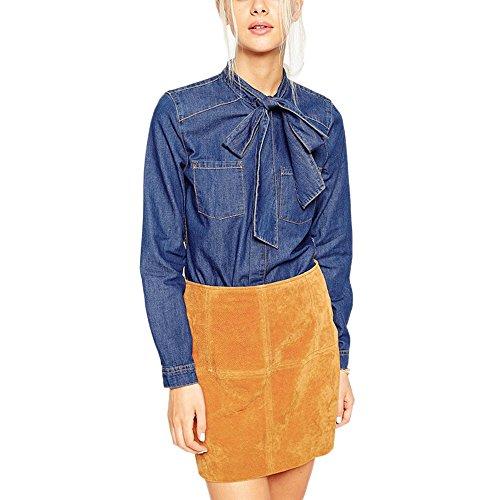 HaoDuoYi Womens Bow Tie Neck Button Down Denim Long Sleeve Shirt(XL,Dark Blue)