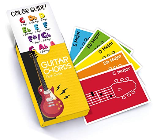 (Made With Tone Guitar Chords Flash Cards, a Great Gift for Music Lovers and Beginner Musicians! All The Major Chords and Notes to be a Guitarist!)