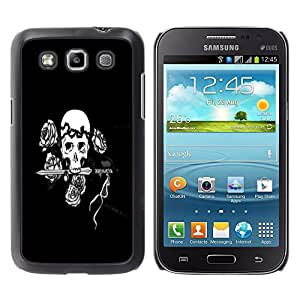 Impact Case Cover with Art Pattern Designs FOR Samsung Galaxy Win I8550 Black & White Floral Rose Skull Betty shop