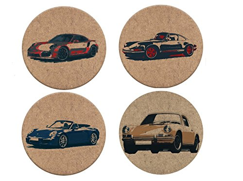 porsche-911-sports-car-cork-coasters-coaster-drink-cork-mats-artistic-designs-set-of-4-eco-friendly