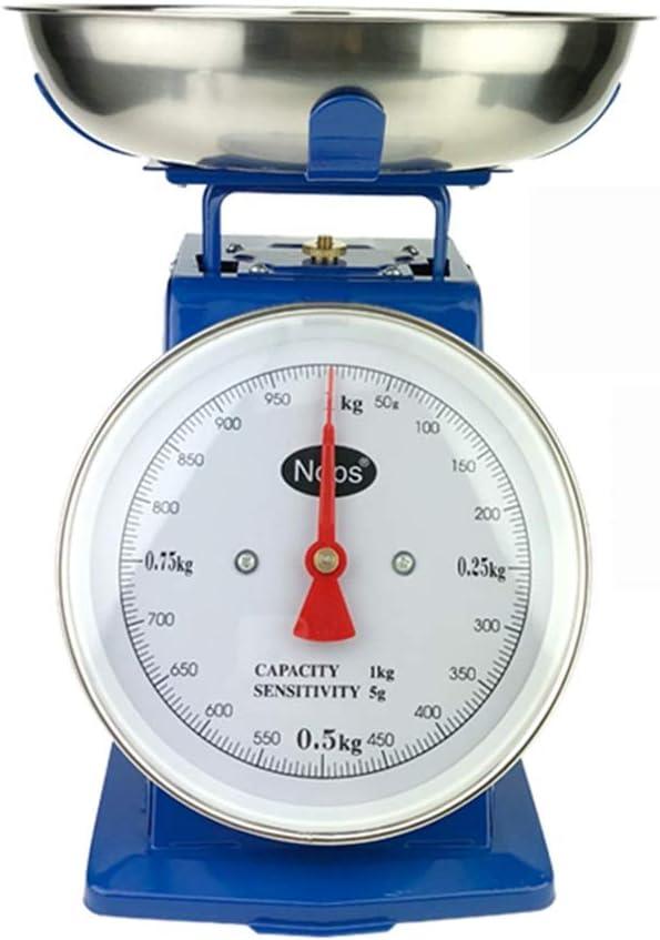 LJBOZ 1 kg 3 kg 5 kg Escalas mecánicas de Hierro de Metal Balanzas de Cocina domésticas con Bandeja sin baterías (Size : 1KG)