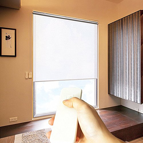 Taiwan Present Godear Design Cordless Roller Window Shades, Motorized-Remote, Light Filtering - 35'' W x 72'' H, White
