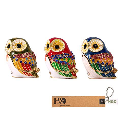 H&D Owl Figurine Trinket Box Ring Holder Jewelry Case Collectible Table Centerpiece (3sets) by H&D