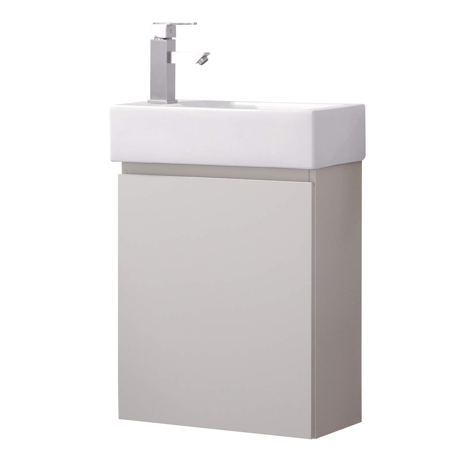 Luca Kitchen & Bath LC20KGP Nova 20'' Bathroom Vanity with Sink in Dove Gray, Wall Hung Style, Made with Hardwood and Integrated Porcelain Top,