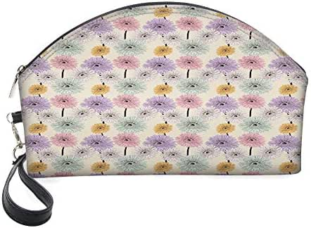 Half Moon Cosmetic Beauty Bag,Gerbera Daisy Arrangement with Vintage Inspirations Hand Drawn Blooming Nature for Women & Girls School Travel Office
