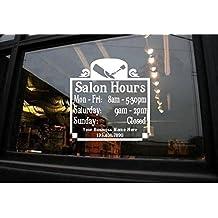 StickerLoaf Brand CUSTOM STORE HOURS CUSTOM WINDOW DECAL BUSINESS SHOP Storefront VINYL DOOR SIGN COMPANY hair nails massage salon aesthetics