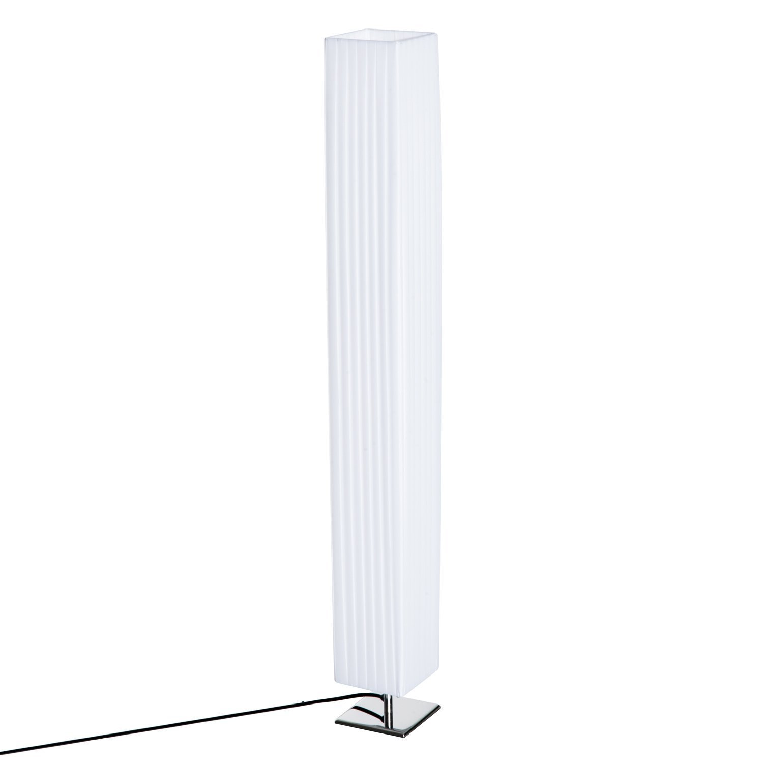 HOMCOM 48'' Modern Fabric Living Room Floor Lamp with Stainless Steel Base - Square Shade