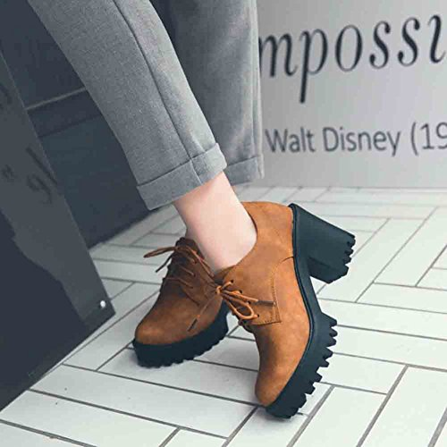 Easemax Womens Trendy Rivets Round Toe Lace Up Platform High Block Heel Pumps Shoes Brown nc01N6igf5