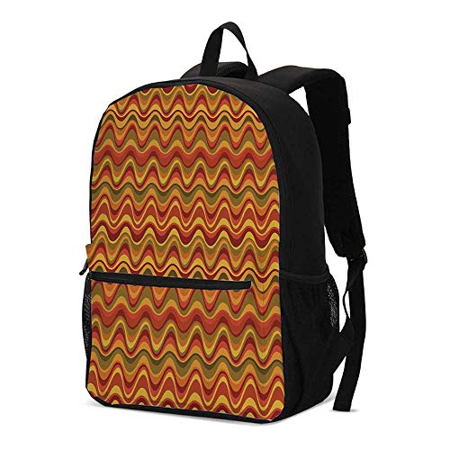 Geometric Fashional Backpack,Desert Dune Pattern Abstract Design Warm Color Palette Funky Old School Art Style Decorative for School Travel,12.2