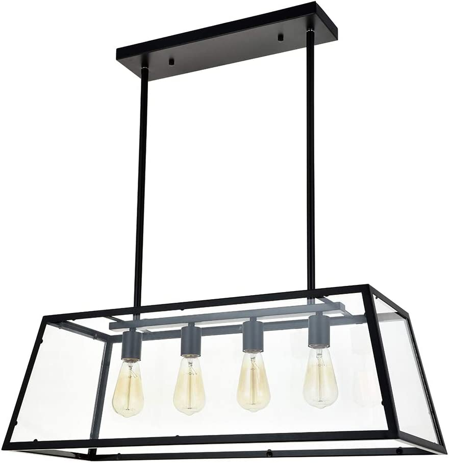 A1a9 Kitchen Island Pendant Lighting With 4 Light Modern Industrial Chandelier Matte Black Frame With Clear Glass Panels Ceiling Lights For Foyer Pool Table Light Dining Room Farmhouse Club Bar Amazon Co Uk Lighting