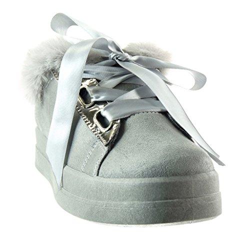 Pelliccia Cm Donna Raso Lacci Moda 3 Scarpe Da In Tacco Grigio 5 Sneaker Angkorly Piatto 8WfXOI8q