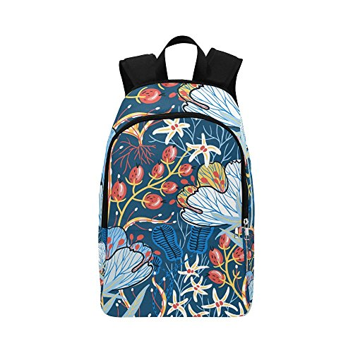 Artsadd Unique Debora Custom Outdoor Shoulders Bag Fabric Backpack Multipurpose Daypacks for Unisex with Design Vector Floral Seamless Pattern With Exotic Flowers