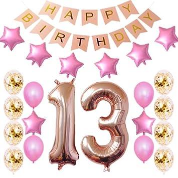 Amazon.com: 13 cumpleaños decoraciones fiesta suministros ...