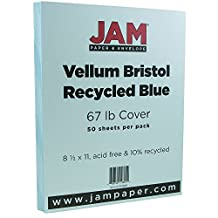 "JAM Paper® Vellum Cover - Letter Size - 216 x 279.5 mm (8 1/2"" x 11"") - 67 lb Blue Cardstock - 50 Sheets per Pack"