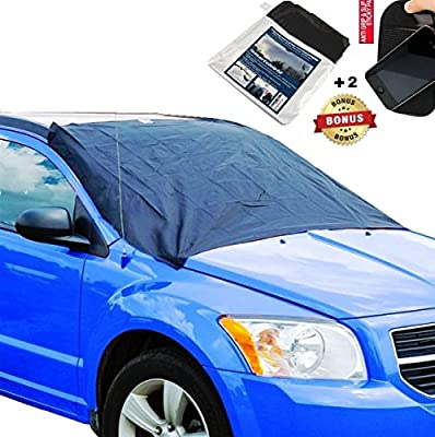 Car Windshield Snow Cover Ice & Sun Shade Protector Magnetic Universal - Fits ALL Cars CRV VAN RV & most SUV Truck W/free Storage Bag & Sticky Mat - Quick & Easy to Use by ISMARTSHIELD