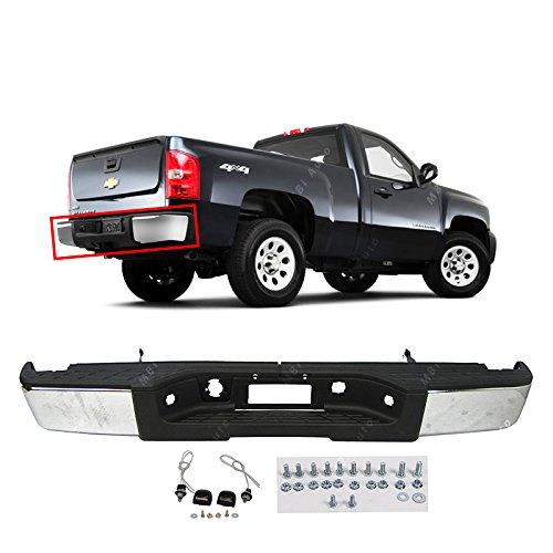 MBI AUTO - Steel Chrome, Complete Rear Bumper for 2007 2008 2009 2010 2011 2012 2013 Chevy Silverado & GMC Sierra 1500, (Sierra Bumper)