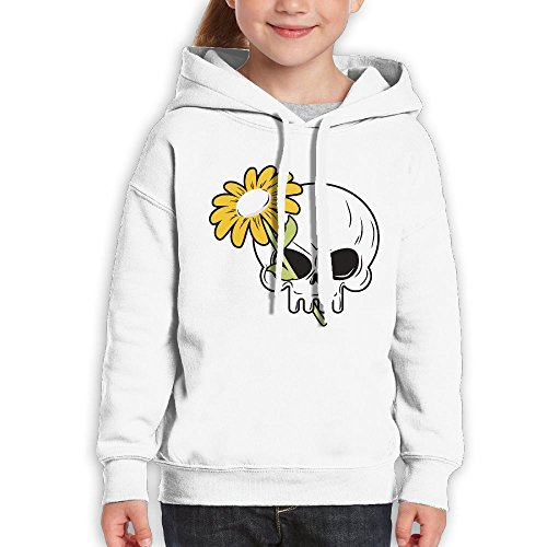 Teenagers Chamomile and Death Head Of Skeleton Teen Hoodies White Pullover Hooded Youngsters Sweatshirt With Boys Girls (Deadmau5 Head Mask)