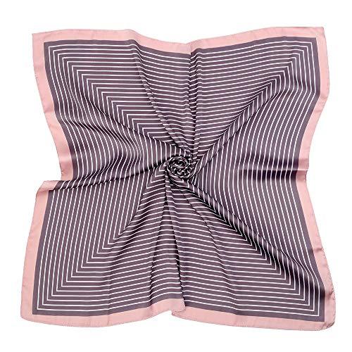 Silk Like Scarf Square Satin Hair Scarf Fashion Maze Neck Scarfs for Women Coffe 27'' x 27''