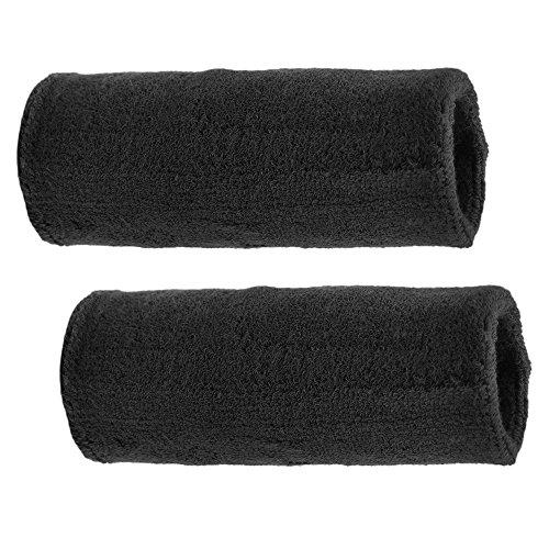 GOGO 6 Inch Long Thick Wristband, Sports Sweatband-Black - Long Wristbands