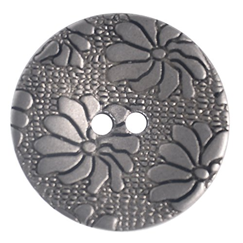 Buttons Flower Metal (Mibo ABS Metal Plated 2 Hole Daisy Flower Button 5, 8, or 10 Pack Assorted Sizes 18 mm 10 Pack Matte Nickel)