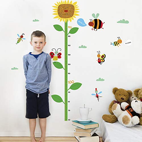 - Funif DIY Measure Height Gauge Wall Decals Wall Stickers Removable Cartoon Sunflower Decor for Kids Nursery Bedroom Living Room17.7