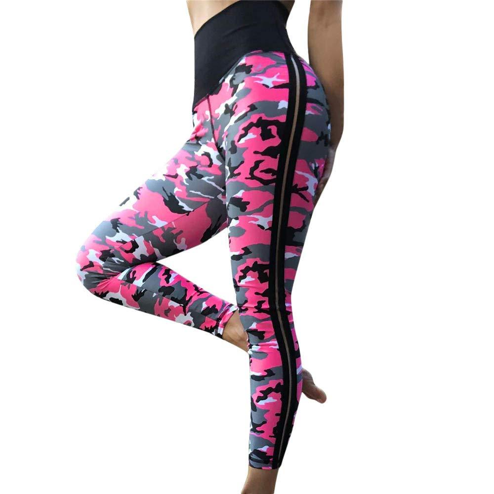 iLUGU Womens Fashion Workout Leggings Fitness Sports Pants Gym Running Work Out Yoga Yoga Athletic Carpenter Pink
