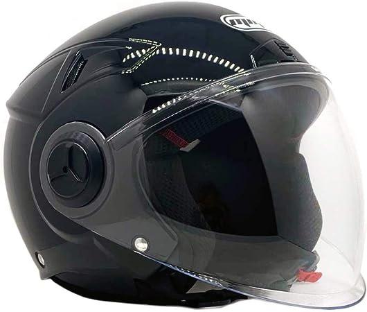 Motorcycle Scooter Open Face Helmet PILOT Flip Up Visor DOT M, Matte Black