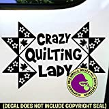 quilt car decals - The Gorilla Farm CRAZY QUILTING LADY Quilt Pattern Fabric Needle Love Hobby Vinyl Decal Sticker Kitchen Car Window Wall Sign BLACK