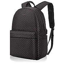 NiceEbag 15.6 Inch Laptop Backpack For Women Lightweight Slim Casual Bag With USB Charging Port Student Bookbag Travel Daypack Hiking Rucksack Fit Macbook / HP / Dell / Lenovo / Asus - Pink Dots