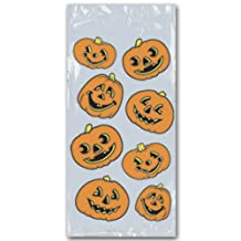 Beistle 25-Pack Pumpkin Cello Bags, 4-Inch by 9-Inch by 2-Inch
