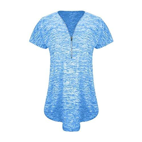 Blouse V Femme Blouse Top Chemisier Lenfesh Suelto Mousseline Occasionnels Ajustable Zipp Bleu Col Chemise nxZqwq