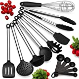 Kitchen Utensil Set, Set of 8 Silicone Kitchen Utensils with Stainless Steel Handles, Heat Resistant & Nonstick Cooking Tools – Tongs, Serving Spoon, Whisk, Spatula, Ladle, Slotted Turner, Spatula