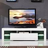 Furniture TV stand cabinet hi gloss modern style living room entertainment center with LED light Fit for up to 60'' flat TV screens