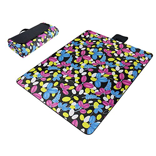 Black & Grass Paided Portable Picnic Blanket Waterproof Beach Mat Outdoor Camping Moistureproof Gift 200 200cm / 78.74 78.74in by Generic (Image #1)