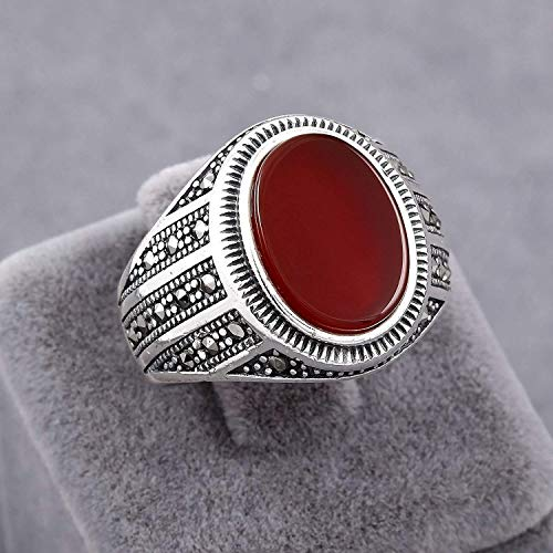 Mens Rings in 925 Sterling Silver, Red Agate (Akik/Aqeeq) Stone, Handmade Elite Men's Ring Size 9.5 ()