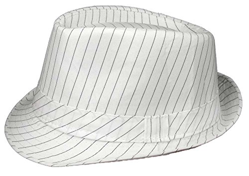 Apparel Sector Fedora Hat (Large, White Pinstriped) (Striped Pinstripe Cap)
