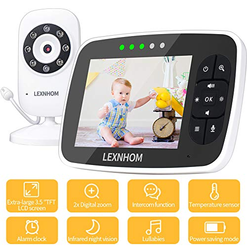 LEXNHOM Video Baby Monitor with Camera and Audio, 3.5 Large LCD Screen Infrared Night Vision Temperature Monitoring Lullabies 2-Way Talk