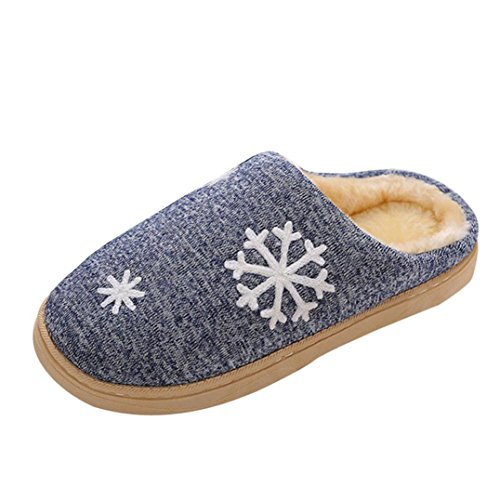 Gillberry Women Men Christmas Soft Slippers Indoor Shoes Faux Fur Warm Slippers Blue