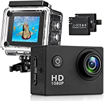 T-mars Action Camera, 12MP 1080P 2 Inch LCD Screen, Waterproof Sports Cam 140 Degree Wide Angle Lens, 30m Sport Camera DV Camcorder