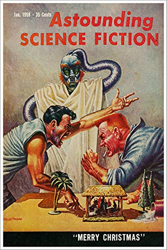- American Gift Services - January 1959 Astounding Science Fiction Magazine Vintage Science Fiction and Fantasy Book Cover Art Poster - 18x24