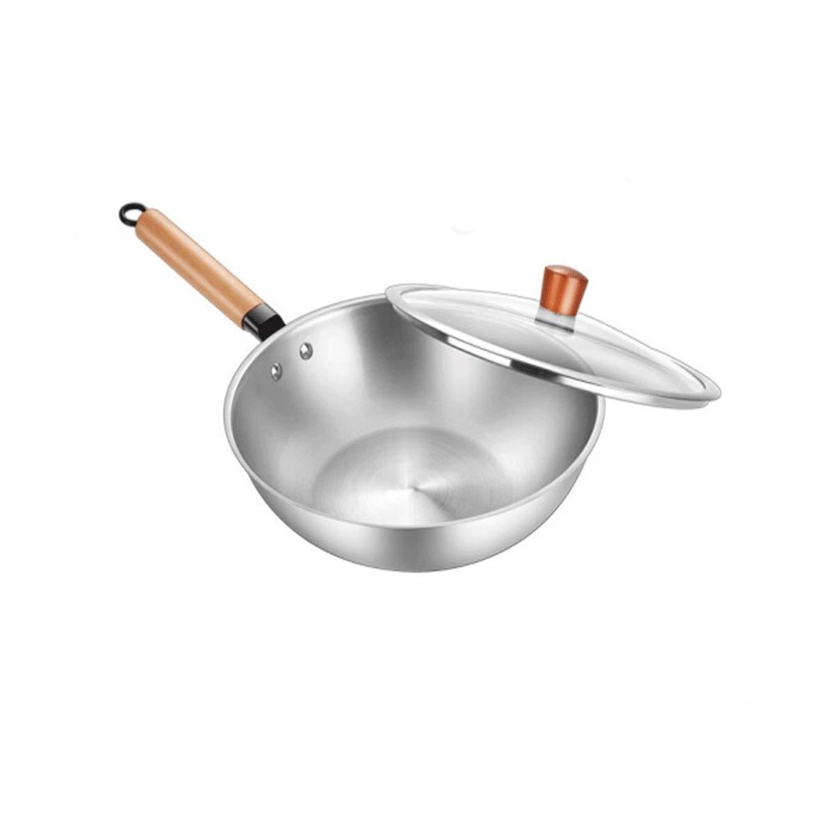 チタン中華鍋、無コーティング、中華鍋/鍋、健康的な禁煙鍋、フライパン、高品質-ガス/誘導調理器具の安全性(30cm / 32cm) (Color : Silver, Size : 32cm) 32cm Silver B07SL3JFHP
