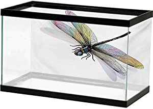 bybyhome Aquarium Background Sticker Dragonfly,Lake Flowers Leaves on Abstract Backdrop Image Bird Like Bugs,Dark Green and Pale Green PVC Self-Adhesive Decor Wall