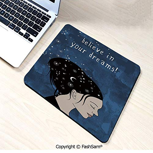 Personalized 3D Mouse Pad Portrait of Woman with Dark Hair and Moon Stars Dream Believer Quote Feminine Art for Laptop Desktop(W7.8xL9.45)